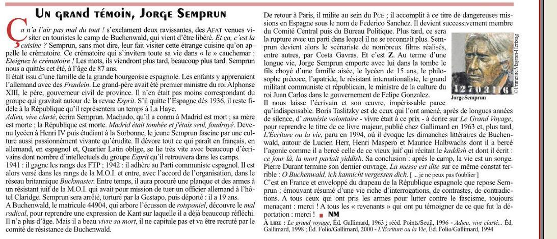 ARTICLE LA PRESSE NOUVELLE MAGAZINE 11/2011