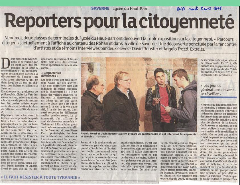 SAVERNE. ARTICLE DE PRESSE